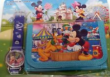 Disney Mickey Mouse Club House Kids carácter Wrist Watch Wallet 2017 En Stock