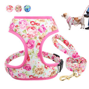Floral Step in Dog Harness and Leash set Adjustable Reflective Puppy Collar Vest