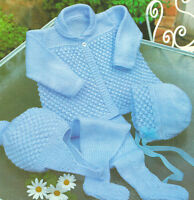 "Blackberry Baby Coat/Jacket Bonnet Helmet & Leggings 18- 20"" DK Knitting Pattern"