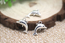 20pcs Dolphin Charms Silver tone 3D Dolphins Charms Pendants 17x11mm