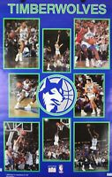 Vintage 1990 MINNESOTA TIMBERWOLVES 34 x 22 NBA Starline Collage Poster RARE