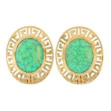 Yellow Gold Synthetic Opal Greek Key Stud Earrings -14k Cabochon 3.00ctw Pierced