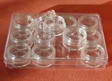 12 leere Nail Art Döschen mit Schraubverschluss in Box