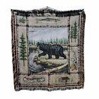 Black Grizzly Bear Wilderness Tapestry Throw Blanket 51L X 46W