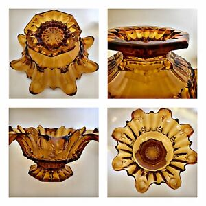Vintage Amber Art Glass Fluted Edge Large Fruit Bowl Art Deco Sowerby 1930 Lily
