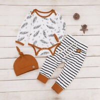 Newborn Baby Boys Girls Feather Romper Bodysuit Striped Pant Hat 3PC Outfits Set