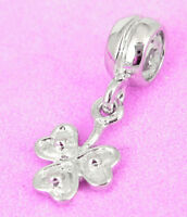 SOLID 925 STERLING SILVER Beautiful Leaf DANGLE BEAD For Charm Bracelet