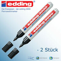 Edding 3000 schwarz Permanent Marker Stift wasserfest 2 Stück