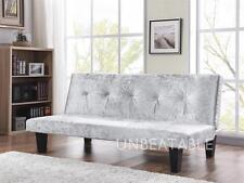 Crushed Velvet Fabric Sofa Bed 3 Seater Modern DESIGNER Sofabed Silver or Black Silver