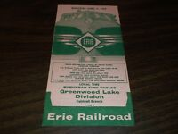 APRIL 1960 ERIE RAILROAD FORM 9 GREENWOOD LAKE PUBLIC TIMETABLE
