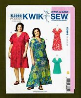 Easy V-Neck Pullover Dress Sewing Pattern (Plus Sizes 1X-4X) Kwik Sew 3868