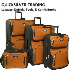 Travel Select Orange 4-Piece Amsterdam Expandable Rolling Luggage Suitase Set