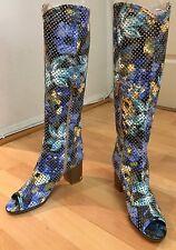 Blue Floral Knee High Open Toe Side Zip Womens Girls Boots Heel Size 5.5 - 6