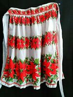 VINTAGE  HANDMADE CHRISTMAS HOSTESS APRON RED POINSETTIA HOLLY BERRIES VGC