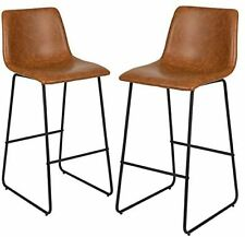 LeatherSoft Bar Height Barstools in Light Brown, Set of 2 New