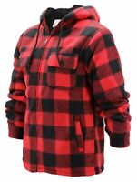 Men's Heavyweight Fleece Zip Up Sherpa Lined Plaid Hoodie Jacket w/ Defect XL