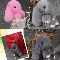 Lady Large Bunny Fur Tail Keychain Bag Tag Charm Handbag Pendant Accessory