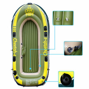 4 Inflatable 4 Person Floating Boat Raft Set with Oars & Air Pump Cruising