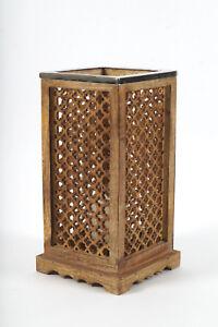 Windlicht Kerzenhalter Mangoholz/Alu ca. 19 x 19 x 39 cm mit Glaseinsatz