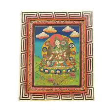 Tara Peinture sur Bois Tibetaine Nepal Tangka Deité bouddhiste    5336