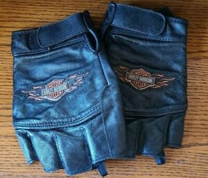 Vintage Harley Davidson Size XL Fingerless Black Leather Riding Gloves shield