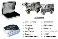 Pewter Landrover 4WD Car Cufflinks Personalised Chrome Engraved Case XWCL146-DCB