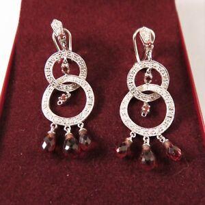 6.70ct Natural Garnet and Diamonds Dangle Earrings 14 kt White Gold