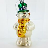 """Frosty the Snowman  4.5"""" Glass Christmas Ornament Top Hat & Scarf Warner"""