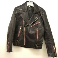 Vintage Leather Motorcycle Jacket Black Patched Leather Jacket Womens Small