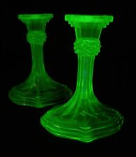 VINTAGE Uranium glass ~ pair of Bagley 'Ilkley' tall candlesticks ~ A1 condition