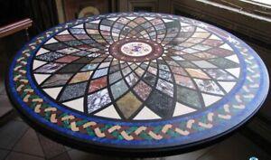 3' Semi Precious Mosaic Art Inlay Marble Dining Table Top Living Room Decor B637