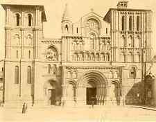 France, Bordeaux. Eglise Ste Croix vintage albumen print. Tirage albuminé  2