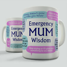 Emergency Mum Wisdom Gift Mug - Funny reminder of childhood mum phrases