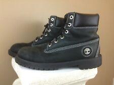 Timberland Silver Stitched Premium Boots Black Mens Sz 5.5 Womens Sz 7.5