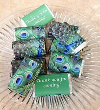 50 PEACOCK PERSONALIZED MINI CANDY BAR WRAPPERS PARTY FAVORS