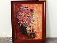 'COLORFUL BOUQUET' Mid Century Still Life  Vintage Oil Painting