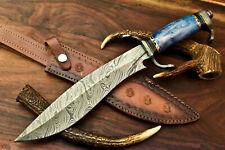 "Beautiful Custom Handmade Damascus Steel Bowie Knife"" Stained Camel Bone Handle"