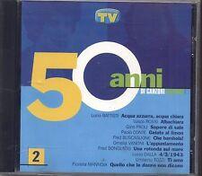 50 Anni di canzoni italiane 2 - BATTISTI VASCO ROSSI PAOLI VANONI BUSCAGLIONE CD