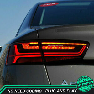 New For Audi A6 LED Taillights 2012-2015 Red LED Rear Lamps Dynamic
