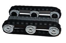 LEGO 2 x Black Rubber Caterpillar Treads + 6 Drive Wheels MEDIUM digger tank EXC