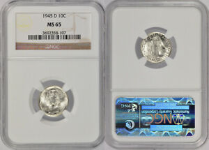 1945-D NGC MS65 UNCIRCULATED WINGED LIBERTY 'MERCURY' SILVER DIME 10 COIN !!!