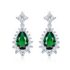 Women Green Emerald Sapphire 18K White Gold Filled Stud Drop Earrings Jewellery