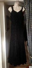 Genuine 1920s Vintage Long Black Lace Evening Dress