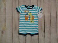 Koala Baby One Piece Teal Striped Romper Outfit Size 3-6 6-9 9-12 Months Giraffe
