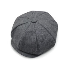 Retro Tweed Herringbone Gatsby Cap Hat Mens Flat 8 Panel Baker Boy Newsboy Hat