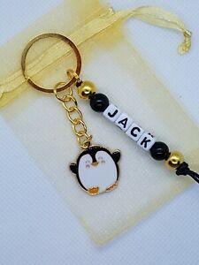 Personalised penguin Keyring, penguin gifts, penguin bag name tag