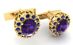 925 Sterling Silver Natural Amethyst And Sapphire Gold Plated Men Fine Cuff link