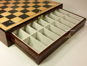 "20"" LARGE HIGH GLOSS STORAGE CHESS BOARD Walnut & Birdseye Maple Color"