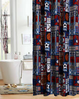 Sports Patch Theme Fabric Shower Curtain Kids Boys Bath Blue Soccer