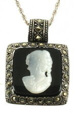 """VINTAGE STERLING MARCASITE MOP MOTHER OF PEARL CAMEO PENDANT NECKLACE 18"""""""